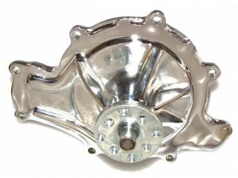 PUMP, Water, 8 bolt pattern, new cast iron housing in chrome finish, 3.625 inch hub height, 5/8 inch pilot, standard clockwise rotation, US built w/ new quality components, precision-made ball/roller bearings and spin-balanced fan hub sustain higher RPM,