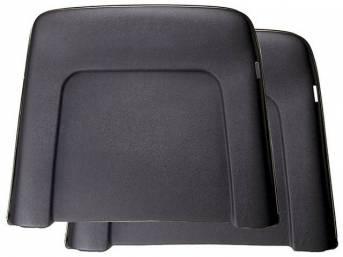 PANEL SET, Bucket Seat Back, black, ABS-Plastic w/ chrome mylar trim and bullet caps, repro