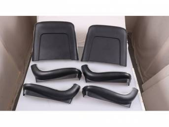 BACK PANEL AND SIDE SHIELD SET, Bucket Seat, black, (6) includes two back panels and four side shields, ABS-Plastic w/ chrome mylar trim and bullet caps, repro