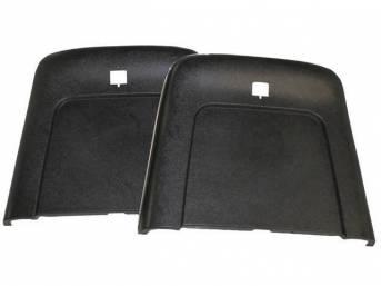 PANEL SET, Bucket Seat Back, black, ABS-Plastic w/ chrome mylar trim, repro