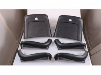 BACK PANEL AND SIDE SHIELD SET, Bucket Seat, black, (6) includes two back panels and four side shields, ABS-Plastic w/ chrome mylar trim, repro