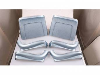 BACK PANEL AND SIDE SHIELD SET, Bucket Seat, light blue, (6) includes two back panels and four side shields, ABS-Plastic w/ chrome mylar trim and bullet caps, repro