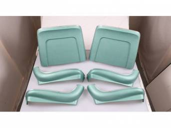 BACK PANEL AND SIDE SHIELD SET, Bucket Seat, aqua, (6) includes two back panels and four side shields, ABS-Plastic w/ chrome mylar trim and bullet caps, repro