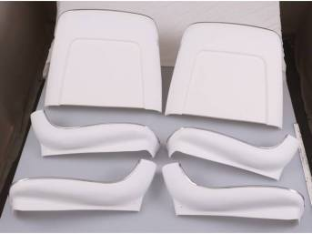 BACK PANEL AND SIDE SHIELD SET, Bucket Seat, White (actual color is off white), (6) includes two back panels and four side shields, ABS-Plastic w/ chrome mylar trim and bullet caps, repro