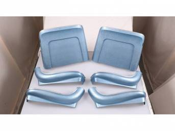 BACK PANEL AND SIDE SHIELD SET, Bucket Seat, bright blue, (6) includes two back panels and four side shields, ABS-Plastic w/ chrome mylar trim and bullet caps, repro