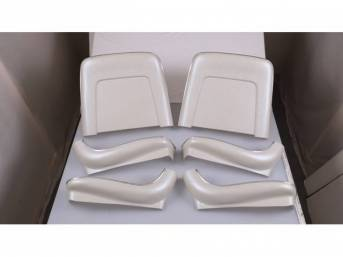 BACK PANEL AND SIDE SHIELD SET, Bucket Seat, pearl, (6) includes two back panels and four side shields, ABS-Plastic w/ chrome mylar trim and bullet caps, repro