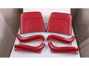 BACK PANEL AND SIDE SHIELD SET, Bucket Seat, red, (6) includes two back panels and four side shields, ABS-Plastic w/ chrome mylar trim and bullet caps, repro