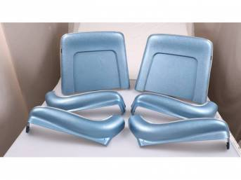 BACK PANEL AND SIDE SHIELD SET, Bucket Seat, medium blue, (6) includes two back panels and four side shields, ABS-Plastic w/ chrome mylar trim and bullet caps, repro