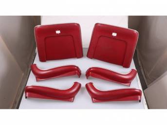 BACK PANEL AND SIDE SHIELD SET, Bucket Seat, red, (6) includes two back panels and four side shields, ABS-Plastic w/ chrome mylar trim, repro