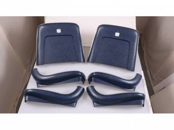 BACK PANEL AND SIDE SHIELD SET, Bucket Seat, dark blue, (6) includes two back panels and four side shields, ABS-Plastic w/ chrome mylar trim, repro