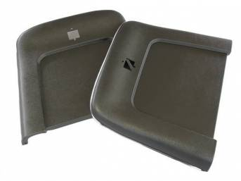 PANEL SET, Bucket Seat Back, dark green metallic, ABS-Plastic w/ chrome mylar trim, repro