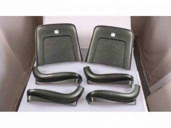 BACK PANEL AND SIDE SHIELD SET, Bucket Seat, dark green metallic, (6) includes two back panels and four side shields, ABS-Plastic w/ chrome mylar trim, repro