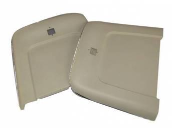 PANEL SET, Bucket Seat Back, parchment, ABS-Plastic w/ chrome mylar trim, repro