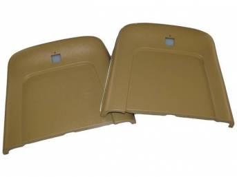PANEL SET, Bucket Seat Back, saddle, ABS-Plastic w/ chrome mylar trim, repro
