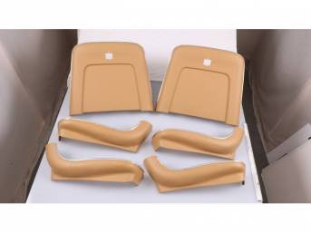 BACK PANEL AND SIDE SHIELD SET, Bucket Seat, saddle, (6) includes two back panels and four side shields, ABS-Plastic w/ chrome mylar trim, repro