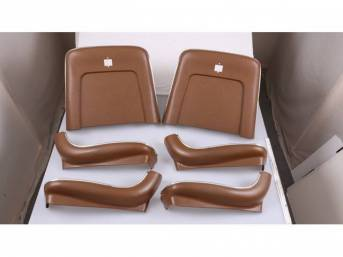 BACK PANEL AND SIDE SHIELD SET, Bucket Seat, dark saddle, (6) includes two back panels and four side shields, ABS-Plastic w/ chrome mylar trim, repro