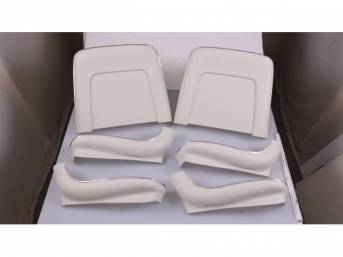 BACK PANEL AND SIDE SHIELD SET, Bucket Seat, white (actual color is off white), (6) includes two back panels and four side shields, ABS-Plastic w/ chrome mylar trim, repro