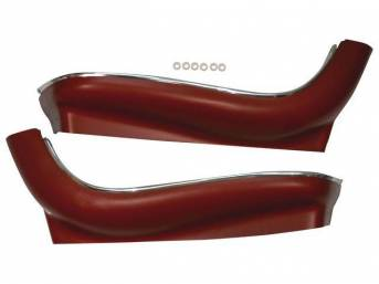 PANEL / SHIELD SET, Bucket Seat Frame, Lower, Red, ABS-Plastic w/ chrome mylar trim and bullet caps, incl pre-drilled holes and screw spacers, repro
