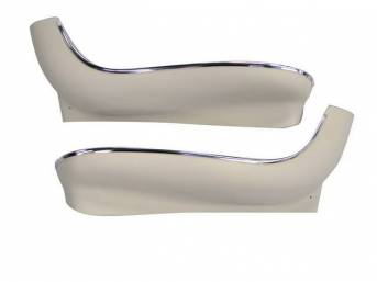 PANEL / SHIELD SET, Bucket Seat Frame, Lower, White (actual color is Off-White), ABS-Plastic w/ chrome mylar trim, incl pre-drilled holes and screw spacers, repro