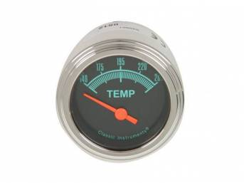 GAUGE, Coolant / Water Temperature, Classic Instruments, G-Stock Series (gauge features orange pointer w/ green markings on a dark gray face), 2 1/8 inch diameter, 140-280 degree reading