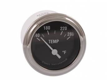 GAUGE, Coolant / Water Temperature, Classic Instruments, Hot Rod Series (gauge features white pointer w/ white markings on a black face), 2 1/8 inch diameter, 140-280 degree reading