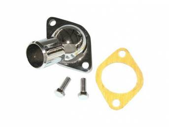 OUTLET, Coolant / Water Neck, gasket style, steel w/ chrome finish, incl gasket and chrome bolts, Repro