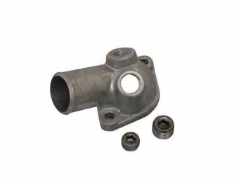 OUTLET, Coolant / Water Neck, gasket style, aluminum, incl gasket, has 2 threaded holes for water temperature unit and hose access, Replacement by Standard