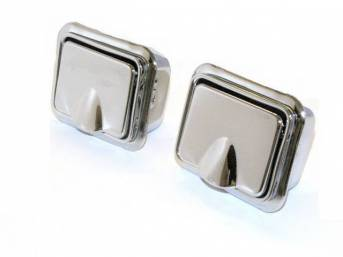 ASH TRAY SET, Quarter Panel Arm Rest, incl bezels, inserts and lids, stainless finish, repro