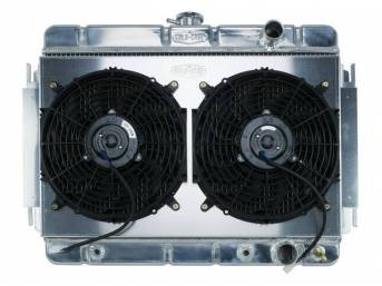 RADIATOR AND FAN KIT, Cold Case, incl p/n C-1219-172EAB down flow 2 row aluminum radiator, aluminum fan shroud w/ a pair of 12 inch diameter electric fans and attaching hardware, wiring and relay kit available separately under p/n M-8K621-1CC