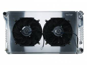 RADIATOR AND FAN KIT, Cold Case, incl p/n C-1219-179EAB cross flow 2 row aluminum radiator, aluminum fan shroud w/ a pair of 12 inch diameter electric fans and attaching hardware, wiring and relay kit available separately under p/n M-8K621-1CC