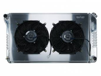 RADIATOR AND FAN KIT, Cold Case, incl p/n C-1219-179EMB cross flow 2 row aluminum radiator, aluminum fan shroud w/ a pair of 12 inch diameter electric fans and attaching hardware, wiring and relay kit available separately under p/n M-8K621-1CC