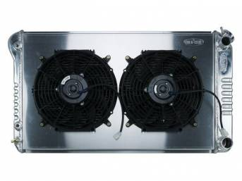 RADIATOR AND FAN KIT, Cold Case, incl p/n C-1219-179JAB cross flow 2 row aluminum radiator, aluminum fan shroud w/ a pair of 12 inch diameter electric fans and attaching hardware, wiring and relay kit available separately under p/n M-8K621-1CC