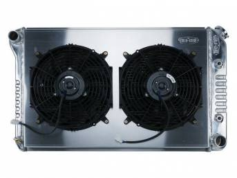 RADIATOR AND FAN KIT, Cold Case, incl p/n C-1219-185EAB cross flow 2 row aluminum radiator, aluminum fan shroud w/ a pair of 12 inch diameter electric fans and attaching hardware, wiring and relay kit available separately under p/n M-8K621-1CC