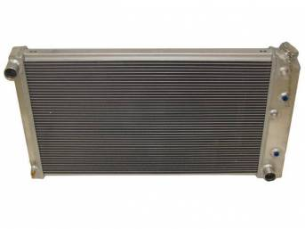 RADIATOR, Cross Flow, Champion, Aluminum, 2 Row, 28 1/4 inch x 16 3/4 core size, 1 1/2 inch LH inlet, 1 9/16 inch RH outlet, Saddle mount, natural finish, Replacement style aluminum radiator (tanks and design is not OE correct), no epoxy used, incl radiat
