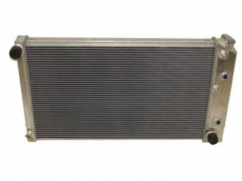 RADIATOR, Cross Flow, Champion, Aluminum, 3 Row, 28 1/4 inch x 16 3/4 core size, 1 1/2 inch LH inlet, 1 9/16 inch RH outlet, Saddle mount, Natural finish, Replacement style aluminum radiator (tanks and design is not OE correct), no epoxy used, incl radiat