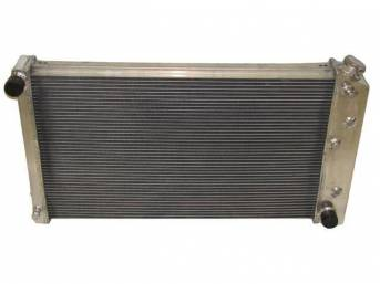 RADIATOR, Cross Flow, Champion, Aluminum, 4 Row, 28 1/4 inch x 16 3/4 core size, 1 1/2 inch LH inlet, 1 9/16 inch RH outlet, Saddle mount, Polished finish, Replacement style aluminum radiator (tanks and design is not OE correct), no epoxy used, incl radia