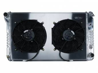 RADIATOR AND FAN KIT, Cold Case, incl p/n C-1219-216EAB cross flow 2 row aluminum radiator, aluminum fan shroud w/ a pair of 12 inch diameter electric fans and attaching hardware, wiring and relay kit available separately under p/n M-8K621-1CC