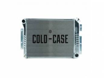 RADIATOR, Cross Flow, Aluminum, 2 row, Cold Case, aluminum version of OE style radiator (can be painted black for OE look), 21.25 inch width x 16.85 inch height x 2.2 inch thick core size, 28.8 inch overall width (to the brackets) x 18.5 inch overall heig