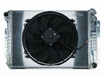RADIATOR AND FAN KIT, Cold Case, incl p/n C-1219-34EMB cross flow 2 row aluminum radiator, aluminum fan shroud w/ 16 inch diameter electric fan and attaching hardware, wiring and relay kit available separately under p/n M-8K621-1CC