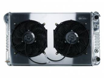 RADIATOR AND FAN KIT, Cold Case, incl p/n C-1219-36KAB cross flow 2 row aluminum radiator, aluminum fan shroud w/ a pair of 12 inch diameter electric fans and attaching hardware, wiring and relay kit available separately under p/n M-8K621-1CC