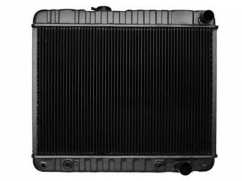 RADIATOR, Down Flow, Copper / Brass, 4 Row, 24 3/4 inch x 17 3/8 inch x 2 5/8 inch thick core size, 1 1/2 inch RH inlet, 1 3/4 inch RH outlet, OE style repro