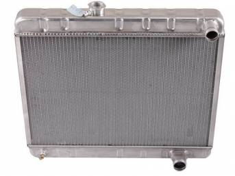 RADIATOR, Down Flow, Aluminum, 2 Row, 25 1/2 inch x 17 1/4 inch x 2 1/4 inch thick core size, 1 1/2 inch RH inlet, 1 3/4 inch RH outlet, natural finish repro
