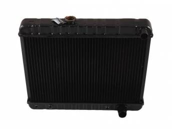 RADIATOR, Down Flow, Copper / Brass, 4 Row, 23 3/4 inch x 17 3/8 inch x 2 5/8 inch thick core size, 1 1/2 inch RH inlet, 1 3/4 inch RH outlet, OE style repro