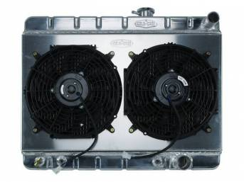 RADIATOR AND FAN KIT, Cold Case, incl p/n C-1219-417EAA down flow 2 row aluminum radiator, aluminum fan shroud w/ a pair of 12 inch diameter electric fans and attaching hardware, wiring and relay kit available separately under p/n M-8K621-1CC