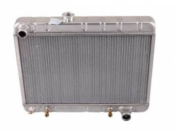 RADIATOR, Down Flow, Aluminum, 2 Row, 25 1/2 inch x 15 1/2 inch x 2 1/4 inch thick core size, 1 1/2 inch LH inlet, 1 3/4 inch RH outlet, natural finish repro
