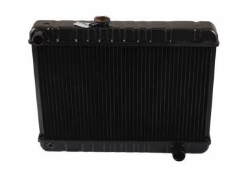 RADIATOR, Down Flow, Copper / Brass, 4 Row, 23 3/4 inch x 15 5/8 inch x 2 5/8 inch thick core size (OE is 15 1/2 inch height), LH fill cap, OE style repro