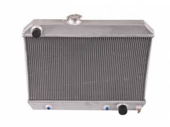 RADIATOR, Down Flow, Champion, Aluminum, 2 Row, 25 inch x 15 3/4 inch x 1 3/4 inch thick core size, 1 1/2 inch LH inlet, 1 3/4 inch RH outlet, Saddle mount, Natural finish