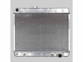 RADIATOR, Down Flow, Aluminum, 2 Row, 25 1/2 inch x 17 1/4 inch x 2 1/4 inch thick core size, 1 1/2 inch LH inlet, 1 3/4 inch RH outlet, natural finish repro