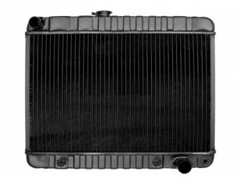 RADIATOR, Down Flow, Copper / Brass, 4 Row, 24 3/4 inch x 15 5/8 inch x 2 5/8 inch thick core size (OE is 15 1/2 inch height), LH fill cap, OE style repro