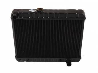 RADIATOR, Down Flow, Copper / Brass, 4 Row, 23 3/4 inch x 17 3/8 inch x 2 5/8 inch thick core size (OE is 17 1/2 inch height), LH fill cap, OE style repro